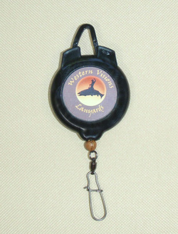 Fly fishing lanyard retractor with ball bearing swivel and duolock snap.